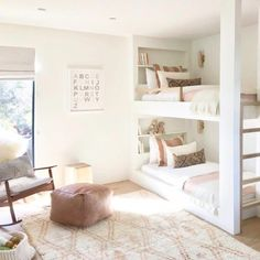 White and bright neutral girls bedroom design with built in bunk beds and tones of blush - Amber Interiors Bed For Girls Room, Big Girl Rooms, Girls Bedroom, Bedroom Decor, Bedrooms, Bunk Bed Rooms, Kids Bunk Beds, Low Bunk Beds, Loft Beds