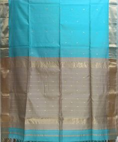 Maheshwari Sky Blue Handloom Cotton Silk Saree Cotton Blouses, Cotton Silk, Red And White Stripes, Grey And White, Check Fabric, Indigo Dye, Handmade Shop, Silk Fabric, Silk Sarees