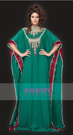 Green Caftan / Kaftan Dress  Dubai Arabic Farasha by KolkozyShop