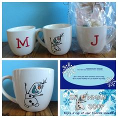 "Personalized Frozen cocoa mugs with ""Snowman Soup"" as birthday party favors. I used Martha Stewart glass paint to put each child's initial on the cup.  Then used transfer paper to copy Olaf the snowman onto the cup.  Then outlined the transfer with ceramic marker and baked the cups to set the paint and ceramic marker.  I then put a pack of white cocoa, cocoa, mint kisses, chocolate mint candy cane and mini-marshmallows in a bag with an Olaf label for Snowman Soup. Disney's Frozen."