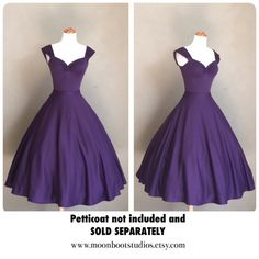 Vintage PLUM Purple Cherrybomb Swing Dress by by MoonbootStudios
