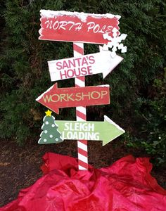 Christmas Decor Wooden North Pole Directional Sign by MommyMelmadeit
