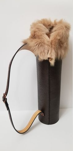 Leather Quiver, Leather Rifle Sling, Tan Leather, Compact Bow, Archery Quiver, Archery Supplies, Handmade Leather, Exotic, Fur