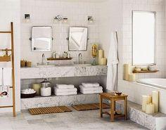 banheiro decorado com marmore e vidro