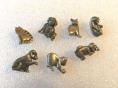 7 Vintage Cats & Dogs Danforth Pewter Buttons, 1984, 1991, & 1992 #Danforth