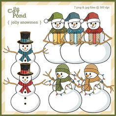Christmas Clip Art  snowmen snowman clipart holiday by TheCoyPond