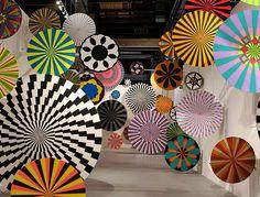 Ara Peterson & Jim Drain installation in the Transmission LA: AV Club exhibition at the MOCA. Stage Design, Event Design, Vitrine Design, Instalation Art, Parasols, Kinetic Art, New Years Decorations, Booth Design, Art Plastique