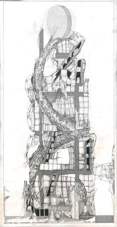 Way Out West: Berlín East Elevación en la etapa AE 1988 Papel de rastreo, tinta, 102 x 52 cm © Peter Cook