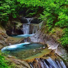西沢渓谷 七ツ釜五段の滝 木々の中に釜が五段あることによって段々と水が流れて行くところに風情がある。