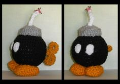 Handmade plush toy based off the Bomb-OMB enemies from the Mario game series.