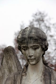 The Face of a Cemetery Angel- #gravemarkers, #tombstones, #headstones, #cemeteries, #cemeteryart, #CemeteryPhotos,