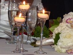 "24 Long stem glass tealight candle holder: 6"", 7"" & 8"""