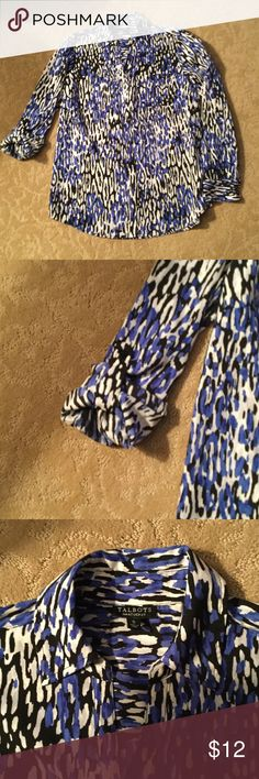 Talbots blouse Talbots long sleeve blouse - has a button tab for roll up of the sleeve.  Blue, black and white Talbots Tops Blouses