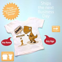 Dinosaur 1st Birthday Shirt, Personalized Dino Birthday Shirt, 1 Year old boy gift 09192016c