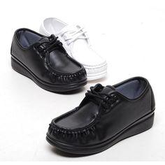 Black 4cm Wedge Platforms Lace-Ups Nursing Comfort Loafers Women Shoes US 4.5~8 #Unbranded #LoafersMoccasins