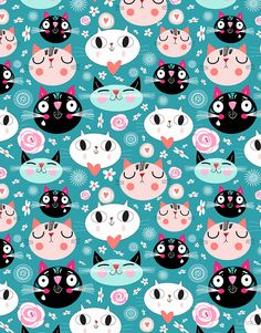 pattern of love funny cats by Tanor