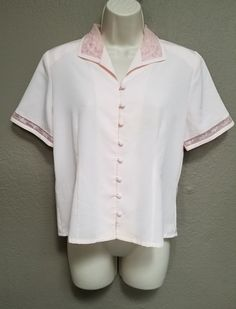 Laura Scott Womens 8 Pink Button Down Short Sleeve Blouse Shoulder Pads | Clothing, Shoes & Accessories, Women's Clothing, Tops & Blouses | eBay!