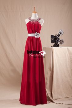 Wholesale Vestidos De Fiesta 2017 Brand New Evening Party Gown Scoop Neck Beading Wine Red Hand-Made Flower Chiffon Prom Dresses