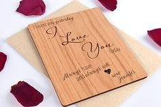 Romantic I Love You Mini Wood Card and Anniversary Gift with Personalized Message Review
