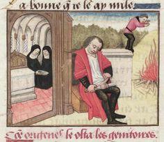 Origen emasculating himself Roman de la Rose, France 15th century (Bodleian Library, MS. Douce 195, fol. 122v). Discarding images.