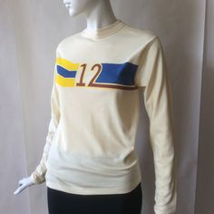 1970's long sleeve tshirt, number 12 and stripes in blue, burgundy, and yellow across the chest, on dark cream, unisex small / medium by afterglowvintage on Etsy