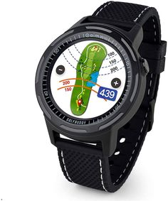 """Advanced Smart Golf GPS Watch with 2 Black Wristbands Included1. 3"""" Full colour LCD display with responsive touch screenThe 10-hour battery life in Golf mode lasts for up to 2 rounds of golf- rechargeable via USBGreen Undulation data to show the slopes of the green. GOLFBUDDY has 51 percent of US golf course green undulationsPreloaded with 40, 000 courses in over 170 countries with free wireless course updates via Bluetooth with the smartphone appColor course view with ability to zoom in/out and Cool Watches, Watches For Men, Gps Watches, Reading Display, Golf Gps Watch, Thing 1, Free Courses, Gps Navigation, Smart Watch"""