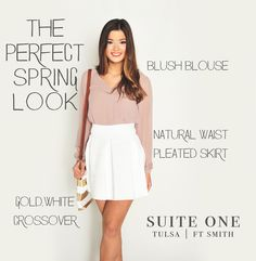 Spring 2014 trend Blush is back but white is the star!  Spring 2014 outfit