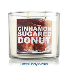 Cinnamon Sugared Donut 3-Wick Candle — a vanilla cake donut covered in sugar crystals and a kiss of crushed cinnamon ♥ #LUVBBW