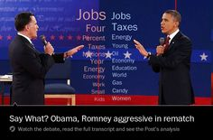 316 With stakes high, Obama hits back at Romney in a fiery second debate        Smaller Text Larger Text Text Size      Print      E-mail      Reprints    By Karen Tumulty and Philip Rucker, Published: October 16 | Updated: Wednesday, October 17, 12:26 AM