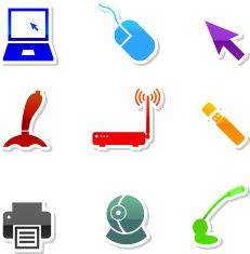 Computer royalty free vector icon set in nine colors vector art illustration