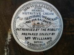 RARE Mrs WILLIAMS ROYAL LEAMINGTON SPA NUTRITIVE CREAM POT LID