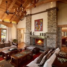 Rustic Stone Gas Fireplace Living Room