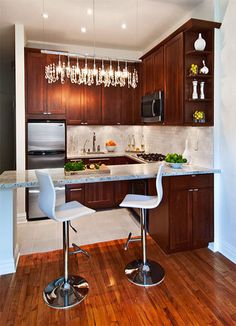 IDEAS PARA COCINAS PEQUEÑAS by cocinayreposteros.blogspot.com Tiny kitchen for small spaces