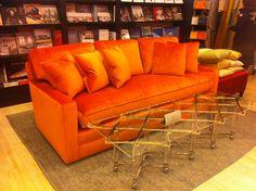 luxurious new floor sample just arrived in store sofa in orange silk velvet