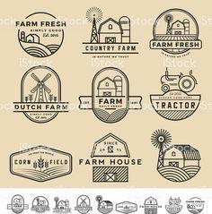 Set of vintage and modern farm badge logo and labels design. vintage and modern farm badge logo and labels Logos Vintage, Logos Retro, Badge Design, Label Design, Logo Label, Vector Logos, Logos Photography, Logos Ideas, Farm Logo