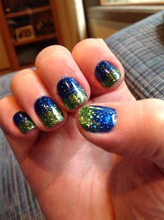 Seattle Seahawks colors. Shellac nail polish and glitter by Mariana at Gene Juarez in Downtown Seattle. I highly recommend!!