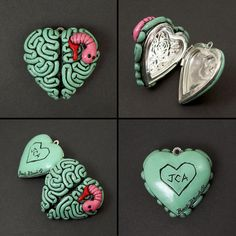 Cool Cool Idea!  For me maybe not the brain style but A Hippie Love child 'style' Locket  would look too cool with PolyClay !  Hippie Hugs with Love, Michele