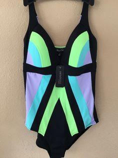 537950c52dab0 City Chic Color Block One Piece Swimsuit 18 Black Like Purple Soft Cup  Beach $89