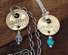 Rockford Illinois Brass Key Tag Necklace with by mLindvall on Etsy, $55.00