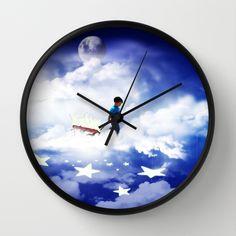 Cute Wall Clock - Star Boy w/Red Wagon on #HomeDecor ,Prints, #Fashion & more at #Society6 #Gravityx9 Designs