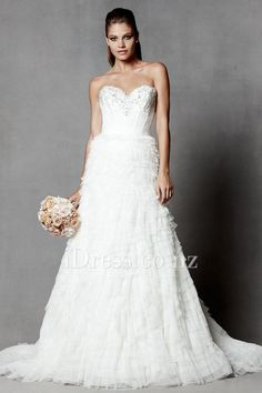 spring netting sweetheart tiered wedding dress with beaded bodice from idress.co.nz