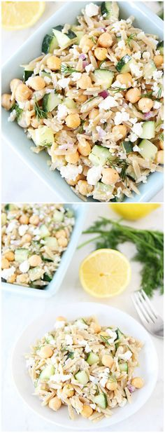 Orzo Salad with Chickpeas, Cucumbers, Lemon, Dill, and Feta on twopeasandtheirpo. This healthy salad is so fresh and tasty! It is great as a main dish or side dish! Healthy Recipes, Healthy Salads, Vegetarian Recipes, Healthy Eating, Cooking Recipes, Quick Recipes, Orzo Salat, Clean Eating, Soup And Salad