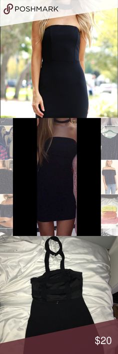 Black bodycon dress Bodycon ; black ; good condition worn once ! Cutouts in back with choker attached. Small strapless Dresses Mini