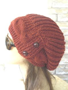 Rust Orange  Womens Hat  Slouchy  Hat  Winter Hat   by Ebruk