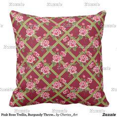 """Pink Rose Trellis, Burgundy Throw Pillow 20"""" x 20"""""""