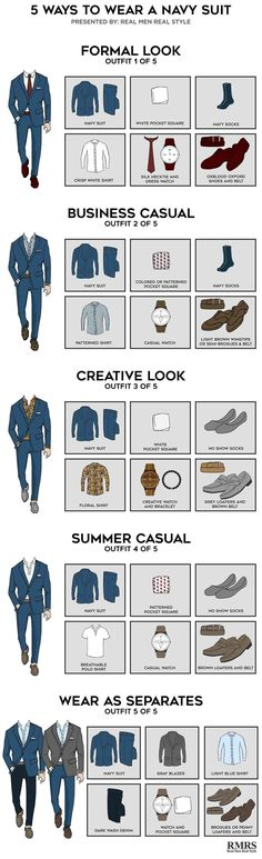 5 Outfits From One Navy Suit – Infographic 5 Ways To Wear A Navy Suit – Which is your favorite? The post 5 Outfits From One Navy Suit – Infographic appeared first on Best Ideas For Women. Costume Bleu Marine, Style Masculin, Men's Wardrobe, Men Style Tips, Suit And Tie, Gentleman Style, Dress Codes, Gq, Esquire
