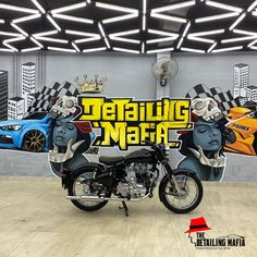 """""""As we always say, the best deserve more than run-of-the-mill products: our worth trying product #BLINDO."""" @thedetailingmafianagercoil This Royal Enfield is detailed to perfection with the Blindo Ceramic Coating. It will: •Protect the paint for 5years and 75,000kms.  •Deep Gloss Finish. •Maximum protection. •Hard resin clear coat.  Book your Appointment @ 80-100-44000 Dust Storm, Automotive Decor, Ceramic Coating, Royal Enfield, Water Slides, Car And Driver, Mafia, Resin, Deep"""