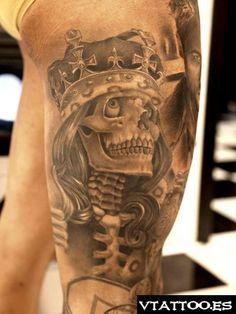 2014 Halloween king skull tattoo designs on thigh for girls #Halloween #skull #thigh