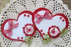 Red Valentines Paper Heart Embellishment for by KatiesKreations4U, $4.25