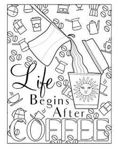 Grab free printable coffee coloring pages for adults! These coffee pun coloring sheets are free and so much fun to color! Geometric Coloring Pages, Spring Coloring Pages, Tree Coloring Page, Mermaid Coloring Pages, Horse Coloring Pages, Flower Coloring Pages, Mandala Coloring Pages, Coloring Pages For Kids, Coloring Books
